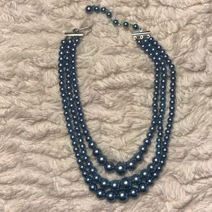 Jewelry - Blue beaded 3 strand necklace vintage